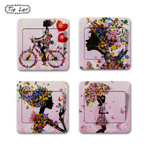 TIE LER 8 PCS Switch Stickers Fashion Modern Decorative Mural Girl Butterfly Bedroom Livingroom PVC Wall Sticker Home Decor