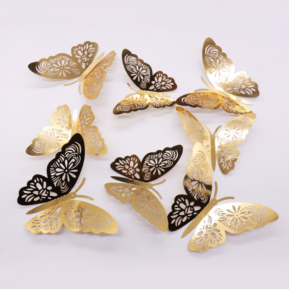 12-100pcs 3D Artificial Butterfly with Magnet Party Wedding Home DIY Decoration