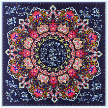 New Luxury Brand 100% Twill Silk Scarf Women Bohemia Colors Flower Print Square Scarves 100 X 100cm Large Bandana Wraps Hijab(China)
