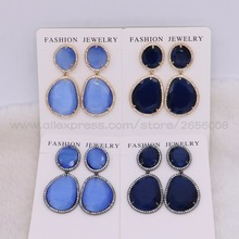 Buy 6 Pairs Fashion Crystal stones drop earrings Colorful dangle earring natural stone earrings jewelry women 2450 for $40.50 in AliExpress store