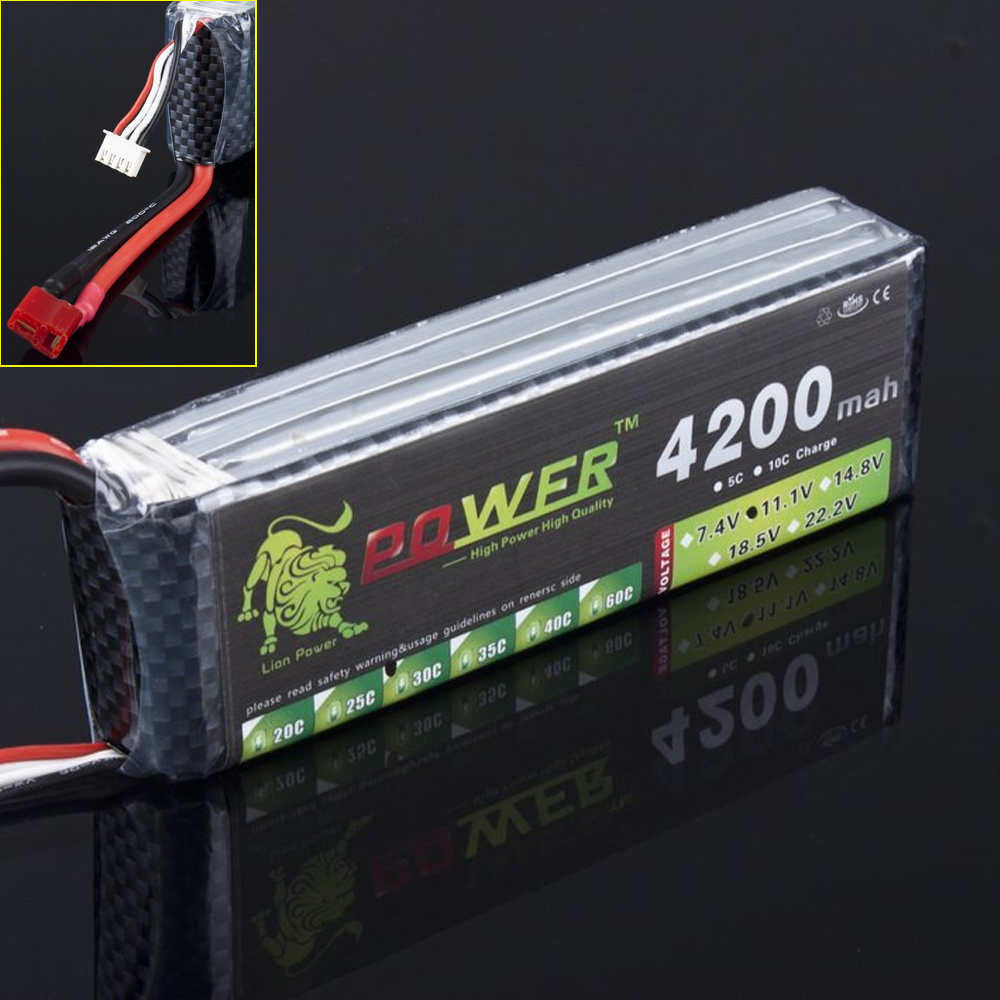1pcs Lion Power 11.1V 4200MAH 30C MAX 45C AKKU LiPo RC Battery For Trex 500 Helicopter 3S<br>