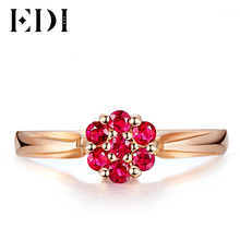 EDI Natural 0.28cttw Ruby Gemstone Halo Ring 18K Solid Rose Gold Engagement Wedding Ring Certifcate Elegant Valentine's Day Gift(China)