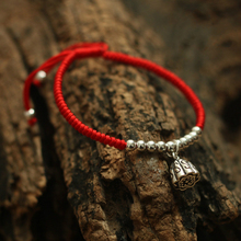 925 Sterling Silver Lotus Seedpod Pendant Lucky Red Rope Shamballa Bracelet Handmade Bangle Wax String Amulet Jewelry(China)
