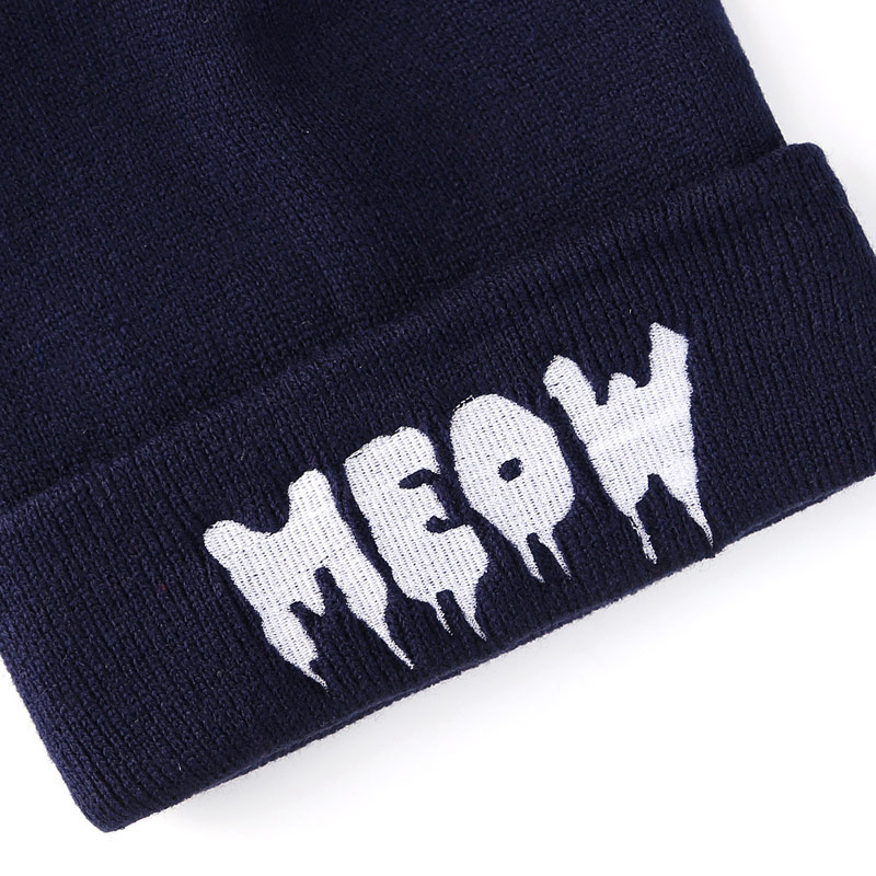 Red Tuscom Winter Knitting Meow Beanie Hat and Snapback Men and Women Hiphop Cap