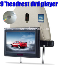 universal 9 inch car headrest DVD player/lcd monitor with USB/SD,64 bit Game,IR,FM ,TV(optional),800*480 pixel,with 2 brackets(China)