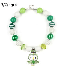 2017 St Patrick Day Beads Necklace for Kids Children Green Owl Pendant Chunky Bubbelgum Necklace Dress Up