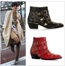 Newest Leather Rivets Booties Buckle Straps Thick Heels Black Ankle Boots Studded Motorcycle Boots Woman Riding Boots beige red
