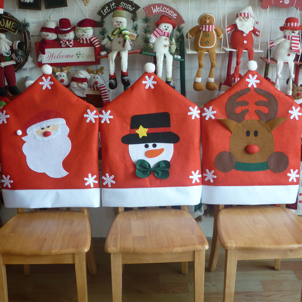 Diy christmas chair covers - Christmas Decoration Santa Snowman Elk Chair Cap Covers Hood Christmas Red Hat Home Party Dinner Table