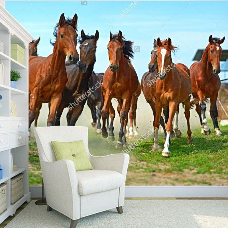 Custom modern wallpaper,Herd of hurrying Horse,3D photo mural for the living room bedroom restaurant vinyl wallpaper<br>