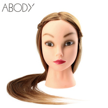 "27"" Female Dummy Head Long Hair Hairdressing Training Head Model with Clamp Hairstyling Manequin Head Golden Yellow Hot Sale"