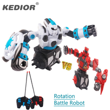 2PCS New Remote Control Robot Intelligent Fighting RC Robot Rotation Battle Robot with Light and Music Electric Toy Gift