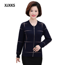 XJXKS Women Sweater Coat Zipper Cardigans Lady's Autumn and Winter Knitted Fashion Outerwear Sweaters 801(China)