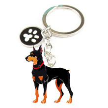 Novelty Jewelry PET Key Chain Doberman Pinscher Dog Key rings Christmas Gifts Dog Metal Charm Key Chains for Lovers best Friend(China)