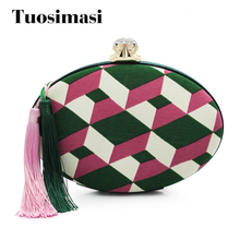 Retro Goose egg shape ladies evening purses new design Embroidery flower bags tassel handbag female fashion prom bag day clutch