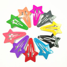 10 Pcs/Pack Neon Bright Color Heart Star Shape Hair Grips Girls' Hair Clips Kids Hair Pin Accessories
