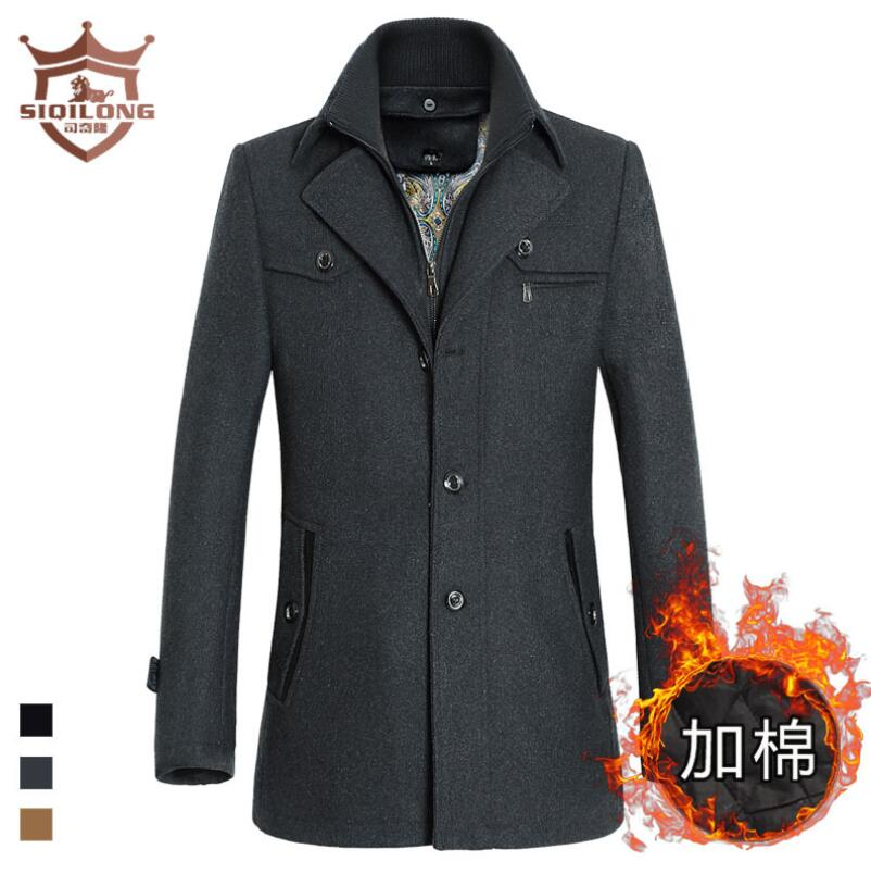 SIQILONG Jacket Winter Thick Single Breasted Men Pea Coat men Peacoat Male Cashmere Overcoat long coat wool & blends wool Jacket