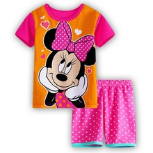 Hot Sell Free Shipping Summer Kids Pajamas Sets Baby Clothes Minnie Bow Girls T-shirt Shorts children underwear  sleeping Suits
