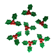 500PCS Green leaves red berries Applique Merry Christmas ornament gift box accessory diy craft home Decoration new year supply(China)