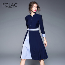 Buy FGLAC Women dress New Arrivals 2018 Spring Long sleeved Patchwork vintage dress Elegant Slim high waist women clothing for $23.55 in AliExpress store