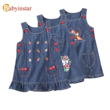 Babyinstar Kids Denim Dress Cute Cartoon Hello Kitty Baby Princess Dress 2017 Autumn Children's Tunic Girls Birthday Dress(China)