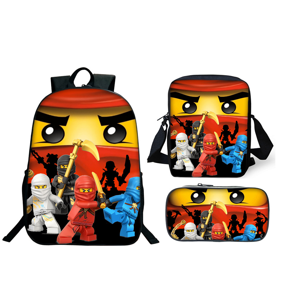 3Pcs/Set Lego Ninjago School Bag Boys Girls Lego Movie Cartoon Backpacks Children School Sets Toddler Schoolbag Kids Gifts