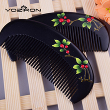Natural Peach wooden comb factory wholesale gift comb  lacquer art hand-painted customizable comb hair pocket combs Y034