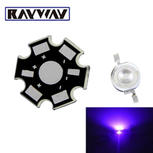 RAYWAY 10PCS High Power UV LED 3W 400nm 405nm LED Chip Ultra Violet With PCB Aquarium Board DIY Grow Lamp LED Light Source