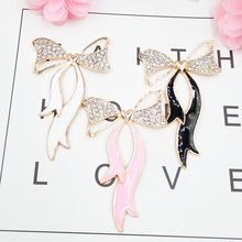 DOWER ME Brand Sexy Crystal Ribbon DIY Decoration 5pcs 3D Mobile Phone Alloy Waterproof Sticker Show Charm(China)