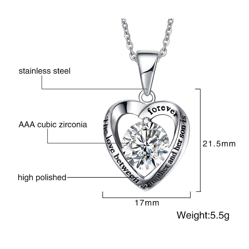 Meaeguet Women's Heart Pendant For Necklace With CZ High Polished Stainless Steel Love Forever For Her Son Jewelry (9)