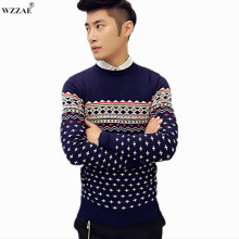 WZZAE Brand New Men's Clothing 2017 Autumn O-neck Sweater Commercial Stripe Casual Knitted Slim Fit Men Sweater,Plus Size M-XXL