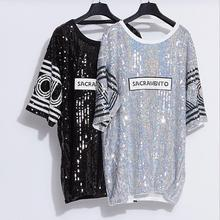 Europe and the United States women's clothing in the spring of 2017 the new letters splicing sequined dresses with short sleeves
