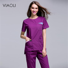 Viaoli 2017Women's Summer Short Sleeve Open Shoulder Round Neck Medical Scrub Clothes Hospital Surgical Sets Uniforms XS-2XL(China)
