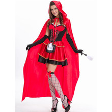 2016 New Fashion Halloween Costume Adult Women Fantasy Costume Ladies Little Red Riding Hood Costumes(China)