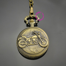 wholesale motorcycle bike pocket watch short waist chain low price good quality retro vintage bronze man father classic men gift