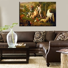 Adam and Eve Oil Painting on Canvas Landscape Wall Art Classical Painting Fashion Gift for Home Decorations No Frame(China)