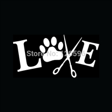 HotMeiNi Love To Groom Sticker Animals Dogs Pet For Car Window Vinyl Decal Wash Cut Hair Bath Nails Ear(China)