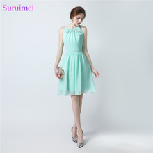 Mint Green Bridesmaid Dresses Knee Length Off The Shoulder Chiffon Brides Maid Dress Cheap On Sale(China)