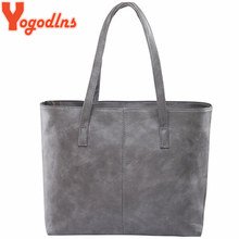 Yogodlns bag 2017 fashion women leather handbag brief shoulder bags gray /black large capacity luxury handbags tote bags design(China)