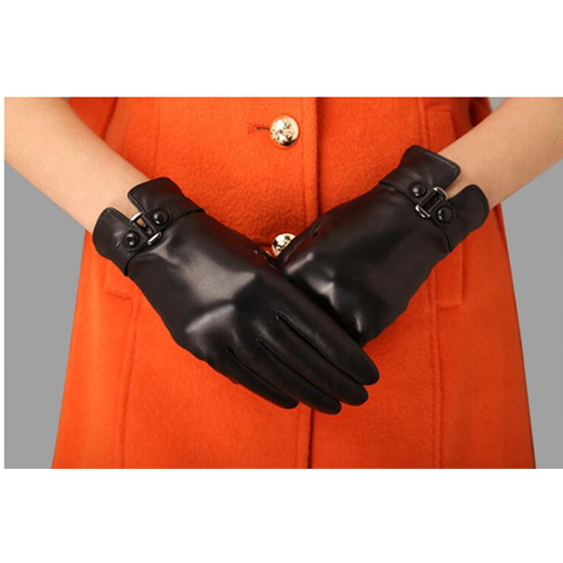 Women  Genuine Leather Gloves Ladies Winter Warm Plus Velvet Thickened Mittens Female Casual Fashion Hand Muff H3221