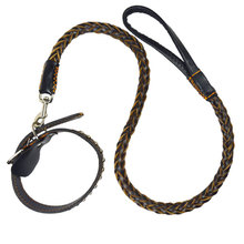 Quality Genuine Leather Large Dog Leashes Pet Traction Rope Collar Set Big Dogs Collar Pet Belt Weaving Belt Collar Accessories(China)