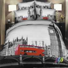100% Cotton 5D Bedclothes 4pcs Bedding Sets King Or Queen City Bus Reactive Print