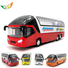 Hot metal car model toy luxury tour bus for children 4 colors limousine voiture bus with flashing pull back(China)