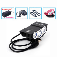 Bicycle Light 6000 Lumens 4 Mode XM-L T6 LED cycling Front Light Bike lights Lamp Torch + Waterproof Battery Pack + Charger