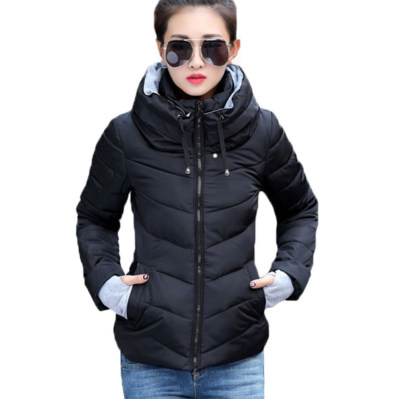 2018 Women Autumn Winter Jacket Warm Parkas Plus New Ladies Thicken Short Outerwear Stand Collar Cotton Padded Female Slim Coats