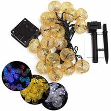 Solar Power Fairy Light Iron Wire Ball 20 LED String Light Curtain Lamp Waterproof Party Outdoor Christmas Garden Decor