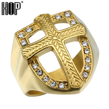 HIP Hop Knights Templar Armor Crusader Cross Rings Titanium Stainless Steel Iced Out Crystal Gold Signet Rings for Men Jewelry(China)