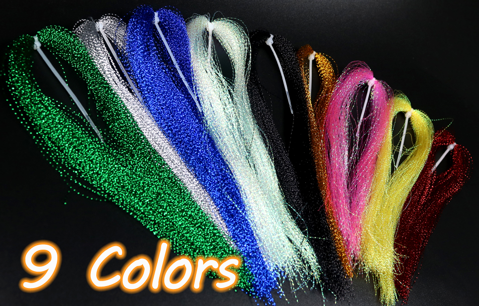300Pcs 19 Colors Useful Flashabou Crystal Tinsel Flash Fly Tying Materials