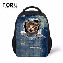 3D Animal Cute Cat Printing Kids Girls Backpacks Mini Kindergarten School Backpack Canvas Children Rucksack Casual Denim Bagpack