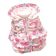 BibiCola Winter Baby Girls Warm Coats Kids Jacket Coats Children Jackets Outerwear Flowers Clothing Suit(China)