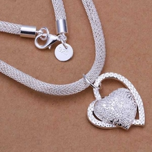 Wholesale silver plated Necklaces & Pendants,925 jewelry silver,Inlaid Stone Heart Necklace SMTN270(China)